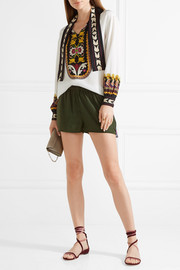 Figue Cassia embroidered silk-satin shorts