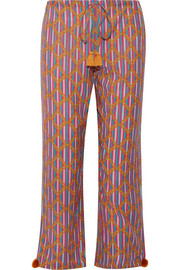Goa printed cotton-blend wide-leg pants