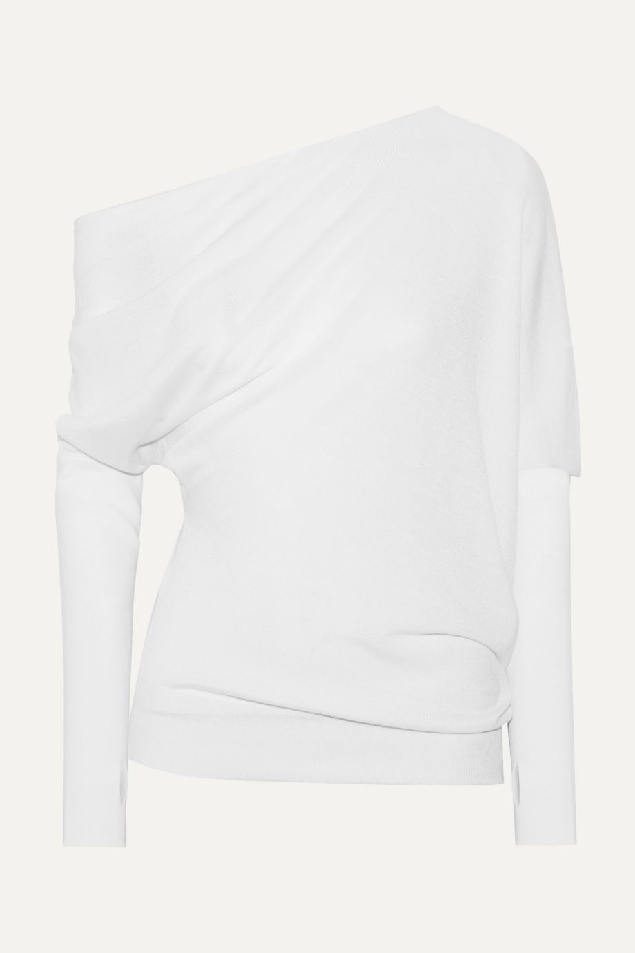 TOM FORD One-shoulder draped cashmere and silk-blend sweater