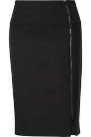 Wool-blend twill pencil skirt