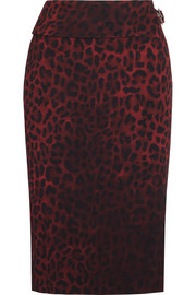 Leopard-print crepe pencil skirt