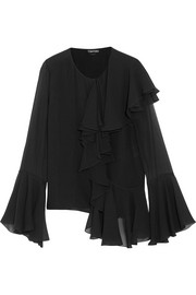 TOM FORD Ruffled silk-georgette blouse