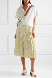 Tomas Maier Pleated printed stretch-cady midi skirt