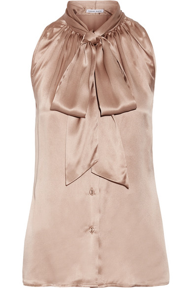 Tomas Maier - Pussy-bow Silk-satin Top - Taupe