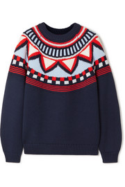 Tory Sport Fair Isle appliquéd merino wool-blend sweater