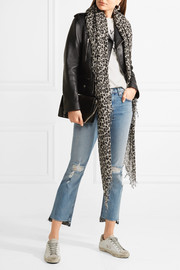 Leopard-print cashmere and silk-blend scarf