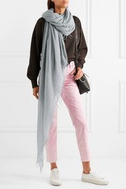 Chan Luu Fringed cashmere and silk-blend scarf