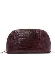 Smythson Mara croc-effect glossed-leather cosmetics case