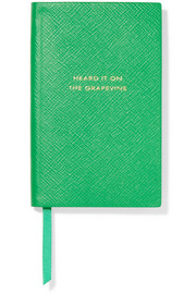 Smythson Panama Heard it on the Grapevine textured-leather notebook