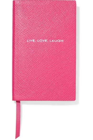 Panama Live, Love, Laugh Textured-leather Notebook - Burgundy Smythson