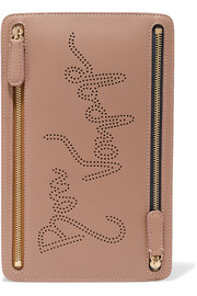 Smythson Piccadilly perforated leather pouch