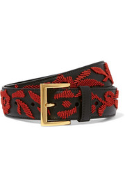 Prada Embroidered leather belt