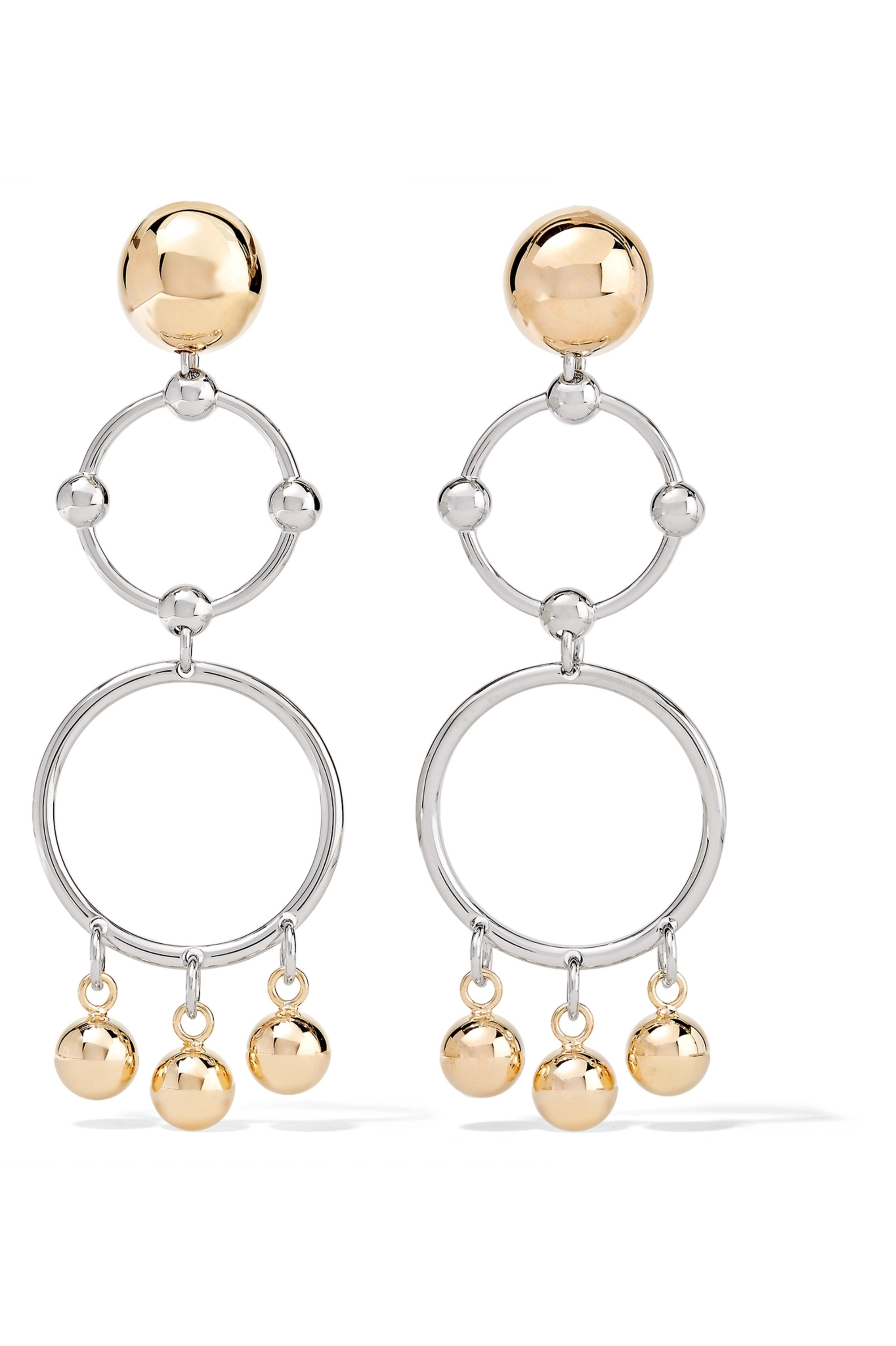 Eddie Borgo Barbell Chandelier gold and rhodium-plated earrings