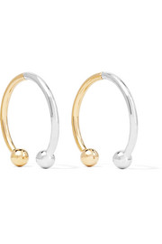 Eddie Borgo Curved Barbell Hoop gold and rhodium-plated earrings