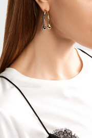 Curved Barbell Hoop silver and gold-plated earrings