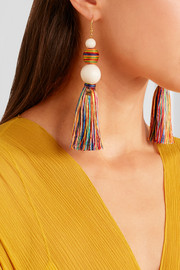 Rosantica Arlecchino tasseled beaded gold-tone earrings