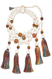 Arlecchino convertible tasseled beaded gold-tone necklace