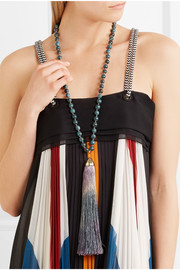 Havana tasseled beaded gold-tone necklace