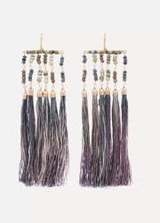 Havana tasseled beaded gold-tone earrings