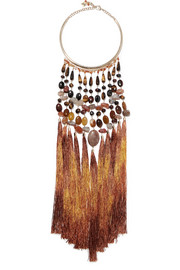 Rum tasseled gold-tone beaded necklace