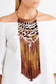 Rosantica Rum tasseled gold-tone beaded necklace