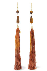 Rum tasseled beaded gold-tone earrings