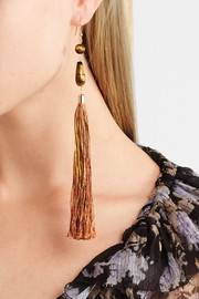 Rosantica Rum tasseled beaded gold-tone earrings