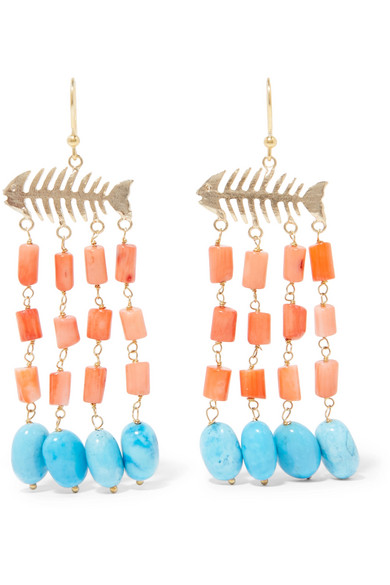 Rosantica - Saona Gold-tone Beaded Earrings - Coral