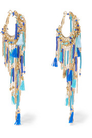 Rosantica Tortuga tasseled beaded gold-tone earrings