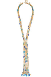 Rosantica Tortuga tasseled beaded gold-tone necklace