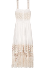 Eve fringed embroidered cotton-voile midi dress