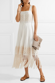 LoveShackFancy Eve fringed embroidered cotton-voile midi dress