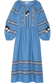 Isla embroidered cotton-voile midi dress