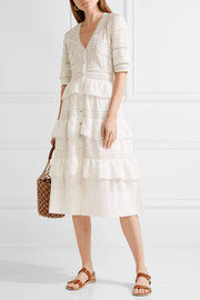 Rebecca crochet-trimmed broderie anglaise cotton midi dress