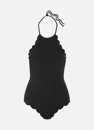 Mott Scalloped Halterneck Swimsuit in Black from Nancy Meyer