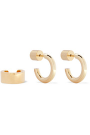 Gold-plated hoop earrings and ear cuff set