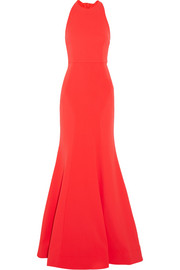 Bow Breakers open-back crepe gown