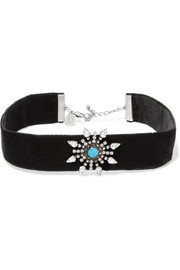 Del velvet, oxidized silver-plated and Swarovski crystal choker