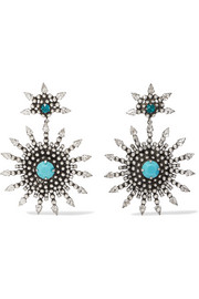 Delano oxidized silver-plated, Swarovski crystal and turquoise earrings
