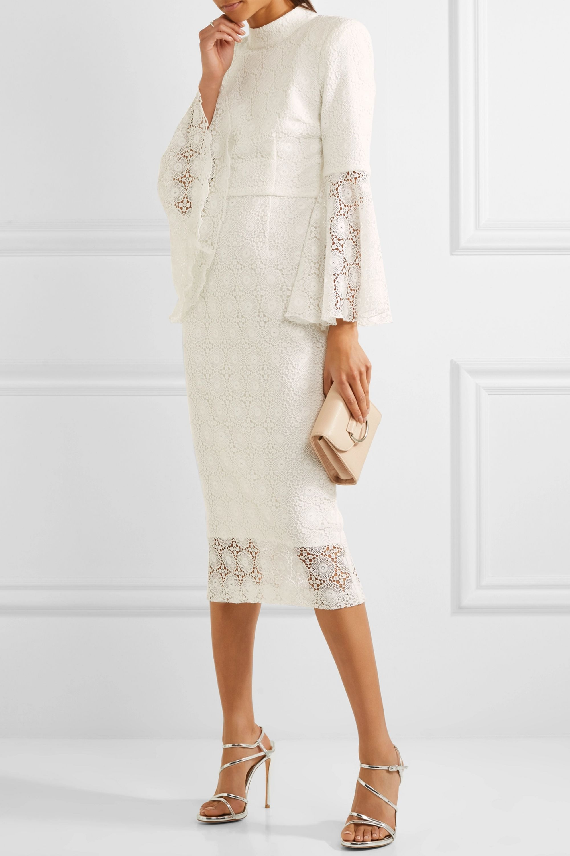 Rebecca Vallance Mireya open-back lace midi dress