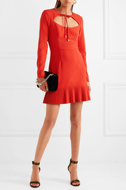 Rebecca Vallance Beltrán pleated cutout crepe mini dress