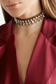 Erickson Beamon Born Again gold-plated, Swarovski crystal and faux pearl choker