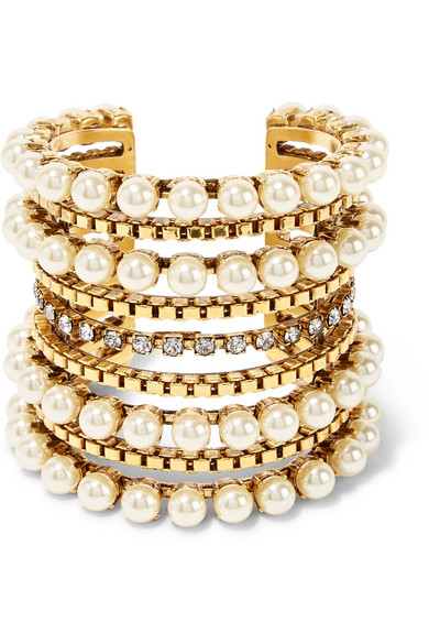 Erickson Beamon - Awaken Gold-plated, Faux Pearl And Swarovski Crystal Cuff - one size