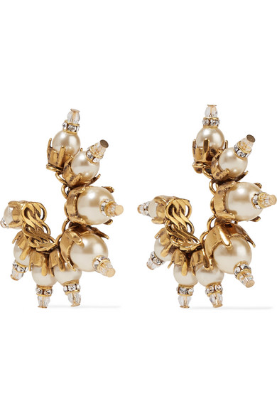 Erickson Beamon - My One And Only Gold-plated, Faux Pearl And Swarovski Crystal Earrings - one size