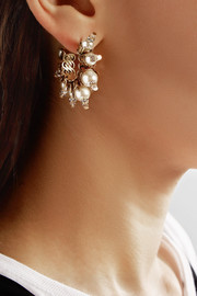 Erickson Beamon My One And Only gold-plated, faux pearl and Swarovski crystal earrings