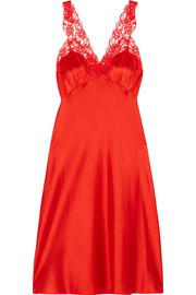Stella McCartney Eloise Enchanting lace-trimmed silk-blend satin chemise