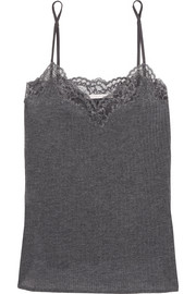Lily Blushing lace-trimmed ribbed-knit camisole