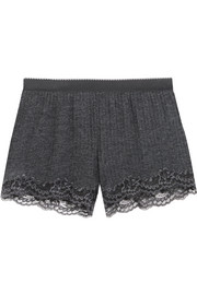 Lily Blushing lace-trimmed ribbed-knit shorts