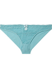 Poppy Playing cutout stretch-jersey and Leavers lace briefs