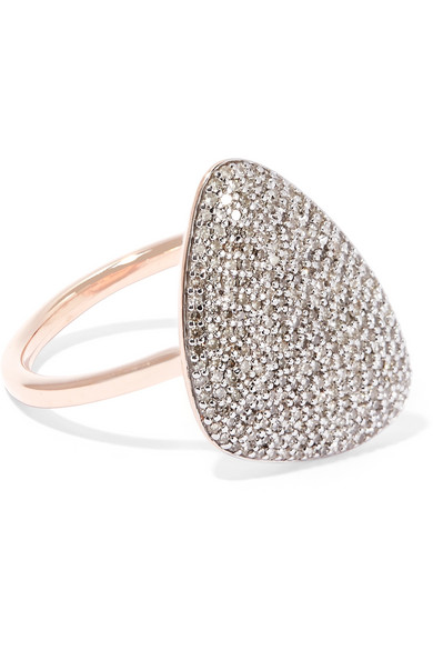 Nura Small Diamond Pebble Stacking Ring in Harrods